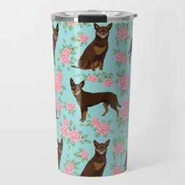 Kelpie florals dog breed cute gifts pattern dog lover pet portraits pet friendly designs Travel Mug