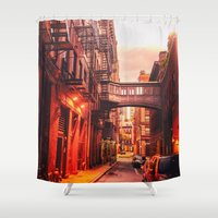 new york city Shower Curtains featuring New York City Alley by Vivienne Gucwa