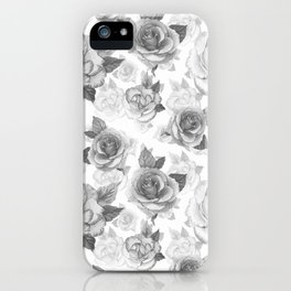 Hand painted black white watercolor roses floral pattern iPhone Case