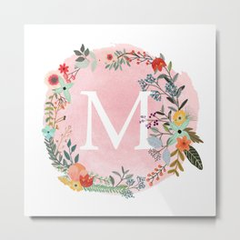 Flower Wreath with Personalized Monogram Initial Letter M on Pink Watercolor Paper Texture Artwork Metal Print