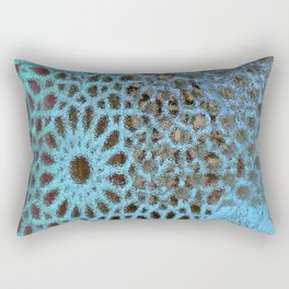 Moroccan Blue Stained Glass effect Rectangular Pillow