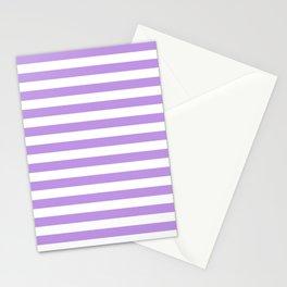 Narrow Horizontal Stripes - White and Light Violet Stationery Cards