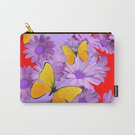 Red Yellow Butterflies Lilac Color Purple Daisies Carry-All Pouch