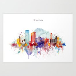 Colorful Honolulu skyline design, Hawaii cityscape Art Print