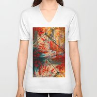 runner V-neck T-shirts featuring Kite Runner by CMYKulaga