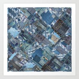 Antique Japanese boro jeans patchwork Art Print