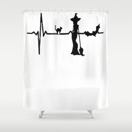 Halloween Heart Beat Black Cat and Bat Shower Curtain