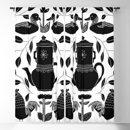 Ducks and roosters ready for cooking #monochrome folk art Illustration Blackout Curtain