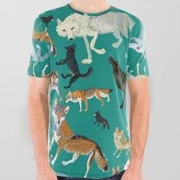 Wolves of the World Green pattern All Over Graphic Tee