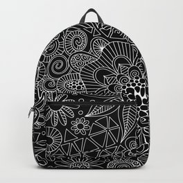 Black Doodle Pattern Backpack