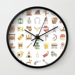 CUTE WILD WEST / COWBOY PATTERN Wall Clock