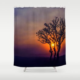 A Sunset Silhouette in Hampi, India Shower Curtain