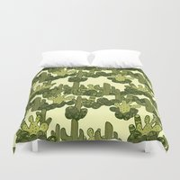 cacti Duvet Covers featuring Cacti by Lburleighdesigns