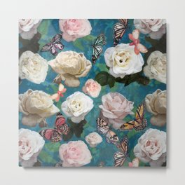 White Roses and Butterflies Metal Print