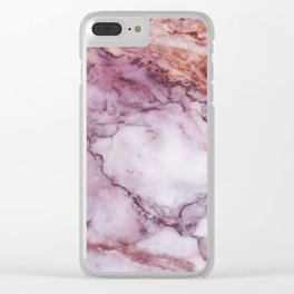 Pink And White Marble Clear iPhone Case