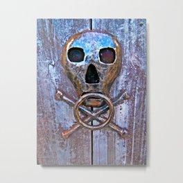 Skull and Cross Bones Knocker Metal Print