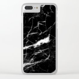 modern chic minimalist abstract black marble Clear iPhone Case