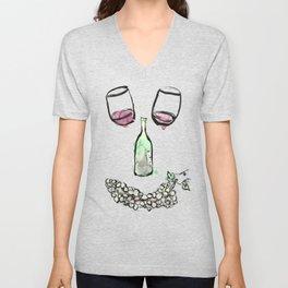 Gourmet Wine Smiley Face Unisex V-Neck