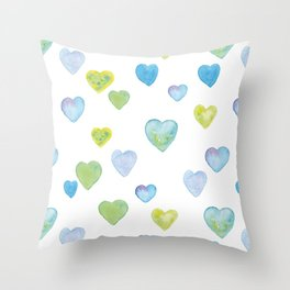 Watercolor hearts of hope Throw Pillow