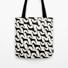 Dog-Doberman: Black on off White Tote Bag