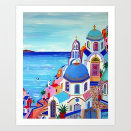 Santorini churches Greek Islands Art Print