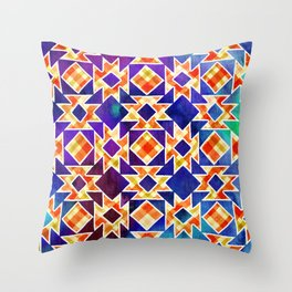 Multicolor Pattern, Including: Cerulein, Electric Violet, Mountain Meadow, Persian Blue + See Below Throw Pillow