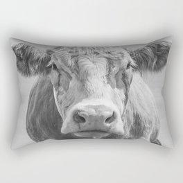 Animal Photography | Highland Cow Portrait Black and White | Farm Animals Rectangular Pillow