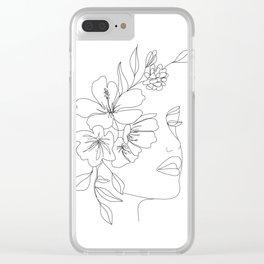 Minimal Line Art Woman Face II Clear iPhone Case