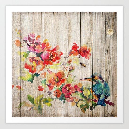 Spring on Wood 04 Art Print