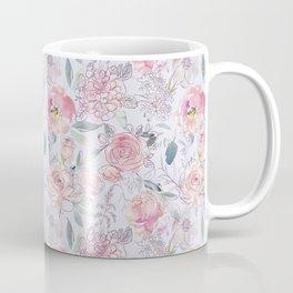Pretty pastel watercolor spring pink blush and grey blooms pattern Coffee Mug