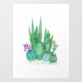 Cacti and succulents . Watercolor . Art Print