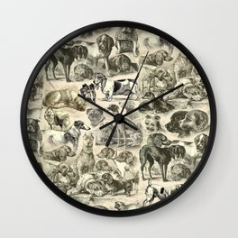 KENNEL - OVER 20 DOG BREEDS COLLAGE Wall Clock