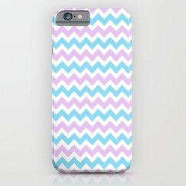 Light Blue, Lilac & White Chevron Pattern iPhone Case