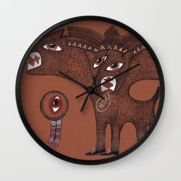 friendly monster says hello to the surreal eye Wall Clock