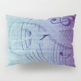 Aqua Purple Ombre Music Notes Pillow Sham