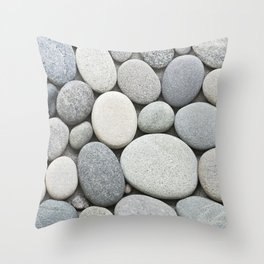 Grey Beige Smooth Pebble Collection Throw Pillow