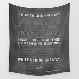 Man in the Arena Theodore Roosevelt Quote Wall Tapestry