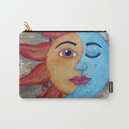 Soluna, Sun and Moon Mixed media Painting Carry-All Pouch