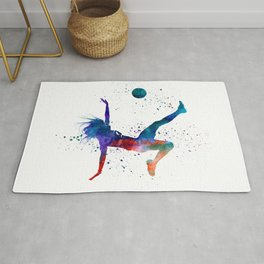 Woman soccer player 08 in watercolor Rug