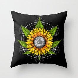 Weed Sunflower Sacred Geometry Throw Pillow