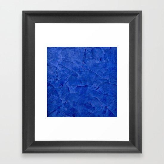 Dark Blue Ombre Burnished Stucco - Rustic Glam Framed Art Print