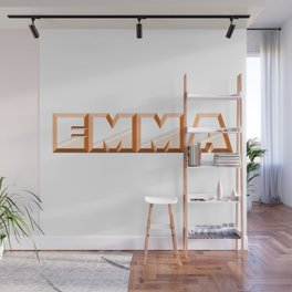 """EMMA"" first name orange pattern Wall Mural"