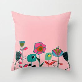 Mid century flowers pink Throw Pillow