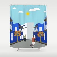 football Shower Curtains featuring Street Football  by Design4u Studio