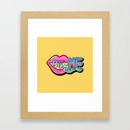 Bite Me - yellow Framed Art Print