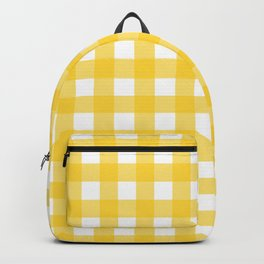 White & Yellow Gingham Pattern Backpack