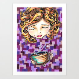 Curls and Coffee Swirls Art Print