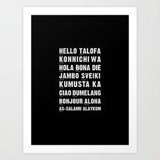 Hello Language Typography Black and White Art Print