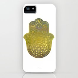 Colorful Watercolor And Gold Hamsa Hand - II iPhone Case