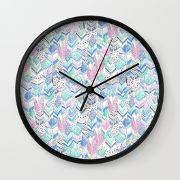 Watercolor . The feather of a bird . Wall Clock